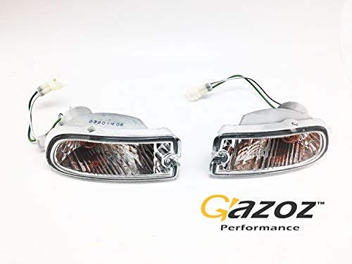 GAZOZ PERFORMANCE Clear Bumper Marker Turn Light Lamp for Subaru Impreza 1999-2000 GC8 GF8 WRX STI