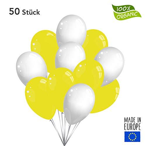 50 Premium Luftballons in Gelb/Weiß - Made in EU - 100% Naturlatex somit 100% giftfrei und 100% biologisch abbaubar - Geburtstag Party Hochzeit Silvester Karneval - für Helium geeignet - twist4®