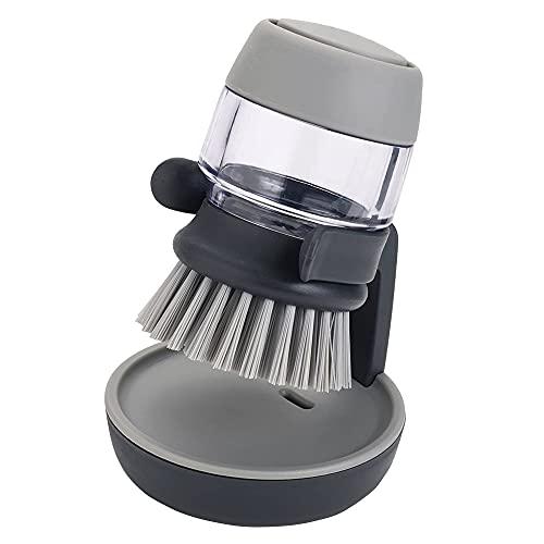 Spazzola con Dispenser,Spazzola piatti Spazzola per pulizia pentole e padelle Con dispenser per detersivo e supporto,per piatti, pentole, lavandini
