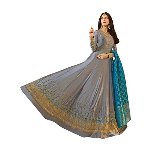 ETHNIC EMPORIUM Damen Swarovski Handarbeit voller Länge Anarkali Salwar Kameez Semi Genähte Jaquard Seide Dupatta Anzug 7514 28 bis 42 Zoll...
