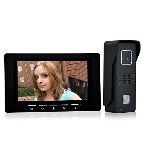 AMOCAM Video Door Phone System, 7 Inches Monitor Wired Video Intercom Doorbell Kits, IR Night Vision Camera Support Unlock, Monitoring, Dual-Way Intercom for Villa House Office Apartment and More