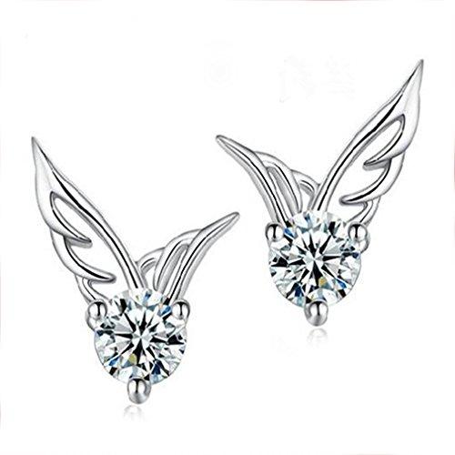 Dames engel vleugels vorm kristallen oorbellen, vleugel vorm geplatineerd mini oorbel doorboorde oorstekers