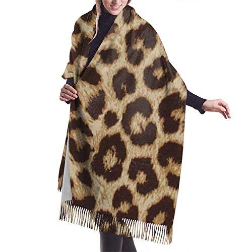 N / A Leopardenmuster Herbst Winter Schal Klassische Quaste Warme weiche große Decke Wickelschal Schals 77 x 27 Zoll / 192 x 68 cm