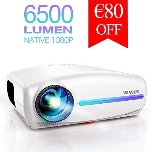 Proyector, WiMiUS 6500 Lúmenes Proyector Full HD 1920x1080P Proyector de Cine en Casa, Soporta 4K Pantalla 300