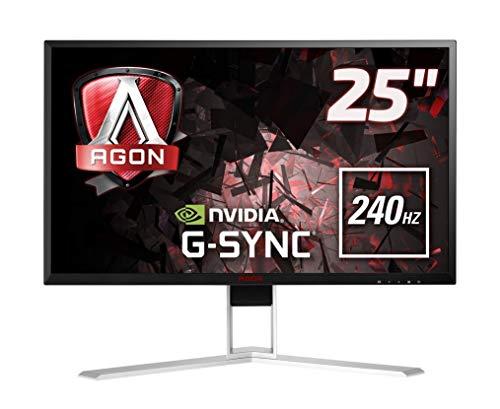 AOC AGON AG251FG - 25 Zoll FHD Gaming Monitor, 240 Hz, 1ms, G-Sync (1920x1080, HDMI, DisplayPort, USB Hub) schwarz/rot