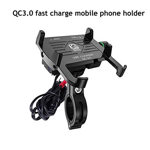 Motorfiets telefoonhouder waterdicht met QC3.0 snellader Universal 360 ° rotatie voor iPhone Samsung Galaxy S7 / S7 Rand- / S8 Sony Andere telefoons met 4-7 inch scherm (kleur: zwart)