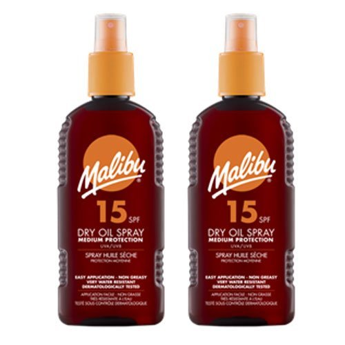 2 Malibu Dry Oil Sprays SPF 15. Pack Contains 2 Bottles - 200ml Each by Malibu