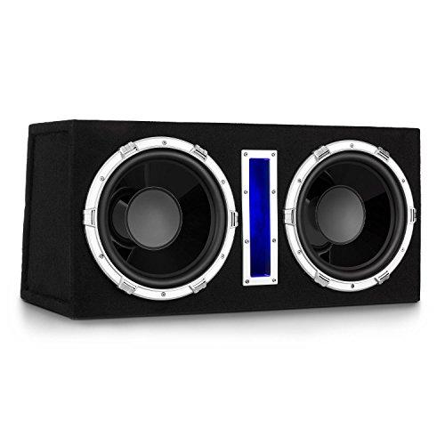 auna Basswaver X10L Auto Subwoofer Doppel-Subwoofer Car-HiFi-Subwoofer (2100 Watt max. Leistung, 2 x 25 cm Tieftöner, 3,8 cm Schwingspule, MP3-Eingang, Filzbeschichtung, Blaue Beleuchtung) schwarz