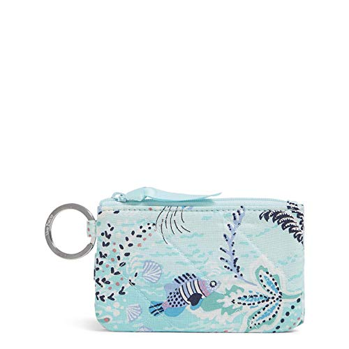 Vera Bradley Signature Cotton Deluxe Zip ID Case Wallet with RFID Protection, Paisley Wave
