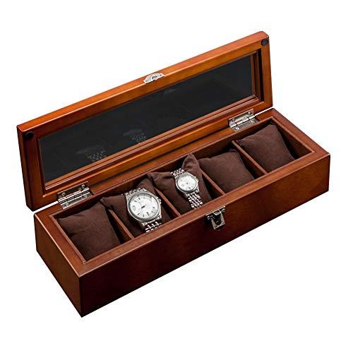 Top 5slots Wooden Watch display case Black Wood Watch Storage box con serratura Fashion di legno orologio Gift Jewelry Cases