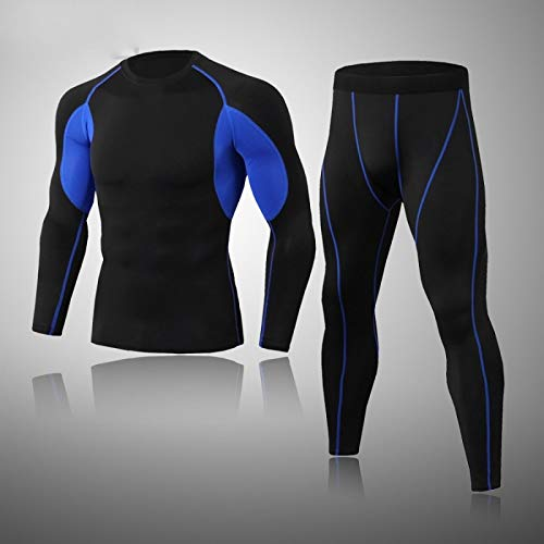 ROirEMJ Ropa Interior Térmica,Hombres Compresión Negro Azul Térmica Ropa Interior Traje Fitness Ejercicio Wicking Ropa Deportiva Ropa Térmica Hombres Acogedor Ropa Interior, XXL