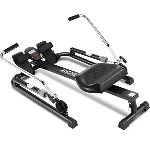 ANCHEER Hydraulic Rowing Machine Full Motion Adjustable Rower with 12 Level Resistance amp Soft Seat amp LCD Monitor amp 45 Inch Long Rail for Indoor Cardio Exercise Home/Office/Apartment Black