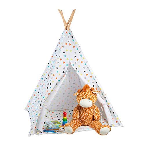 Relaxdays Tipi Infantil, Tienda Campaña, Casita para Niños con Bolsa, Lino-Madera, 160 x 115 x 115 cm, Blanco-Multicolor