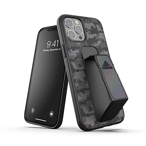 アディダスパフォーマンス iPhone 12 Pro Max ケース 6.7インチ アディダス スタンド機能 グリップバンド付き スポーツ仕様 耐衝撃 軽量 ランニング アウトドア カモ柄ブラック
