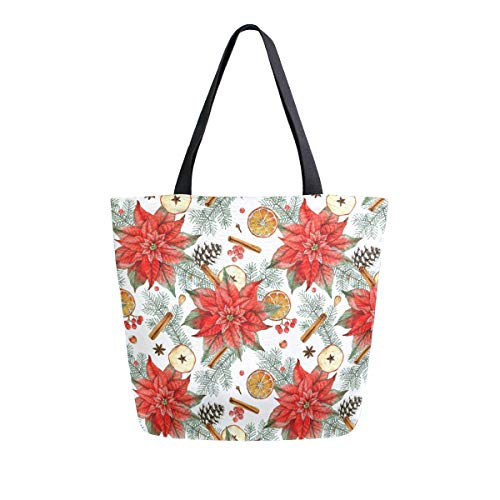 ZZXXB Merry Christmas Tree Floral Reusable Grocery Shopping Bag Heavy Duty Canvas Tote Bag Large Collapsible Washable Handbag Shoulder for Women