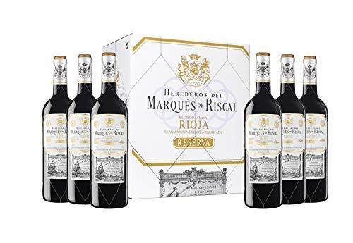Marques De Riscal - Vino tinto Reserva Denominación de Origen Calificada Rioja, Variedad Tempranillo, 24 meses en barrica - Estuche 6 botellas x 750 ml - Total: 4500 ml