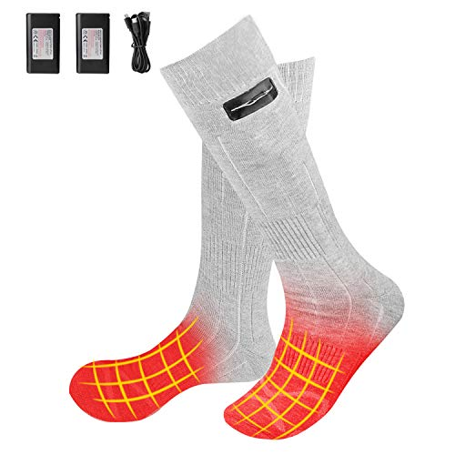 ADIMA Heated Socks for Men and Women, Upgraded 4000mAh Rechargeable Battery 3 Heating Settings Thermal Winter Warm Socks (Gray)