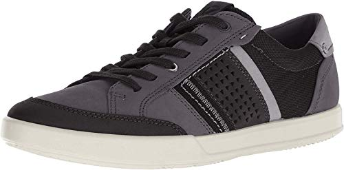 ECCO Men's Collin 2.0 Casual Tie Sneaker, Black Nubuck/Black, 13-13.5