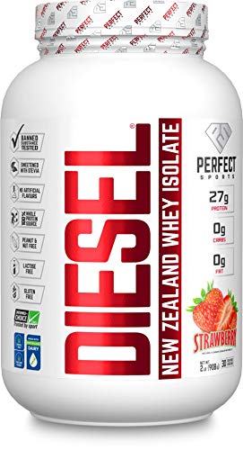 PERFECT SPORTS Diesel New Zealand Whey Protein Isolate, Grass-fed, Stevia Sweetened & Naturally Flavored, Strawberry, 907 g