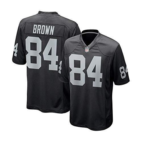 Rugby-Trikot Antonio Brown # 84 Las Vegas Raiders Fußballtrikot, Unisex-Sport Kurzarm-Sweatshirt Fitness Atmungsaktive Stickerei Wiederholbare Reinigung Black-M(175cm~180cm)