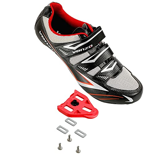 Venzo Bicycle Men's Road Cycling Riding Shoes - 3 Straps- Compatible with Peloton Shimano SPD & Look ARC Delta - Perfect for Road Racing Bikes Black Color 47