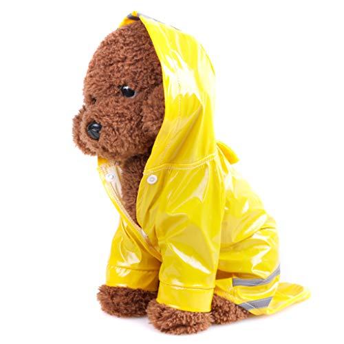 TUDUZ-Haustier Regenmantel mit Hauben Im Freienwelpen Wasserdichten Jacken PU Reflektierendem Regenmantel All-Inclusive- Mantel für Hunde Katzen Kleidung(Medium,Gelb)