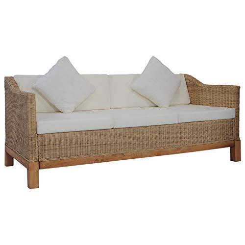 Tidyard Lounge 2-3 Sitzer-Sofa -Gartenm?Bel Couch Bank Rattansofa Sitzm?Bel Wohnzimmersofa Gartenm?Bel Lounge Sessel Mit Auflagen aus natürlichem Rattan,Cremewei?