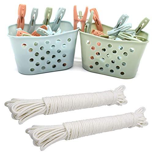DBAILY Pinzas para Tender, Plástico Pinzas Cuerdas para Tender La Ropa Cesta De Almacenamiento Tendedero para Colgar Ropa Toallas de Playa