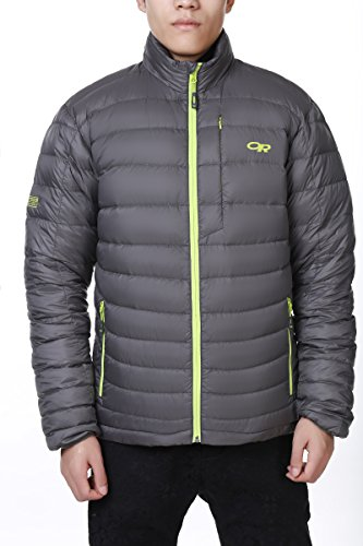 Outdoor Research Men's Transcendent Down Sweater, Pewter/Lemongrass, Small