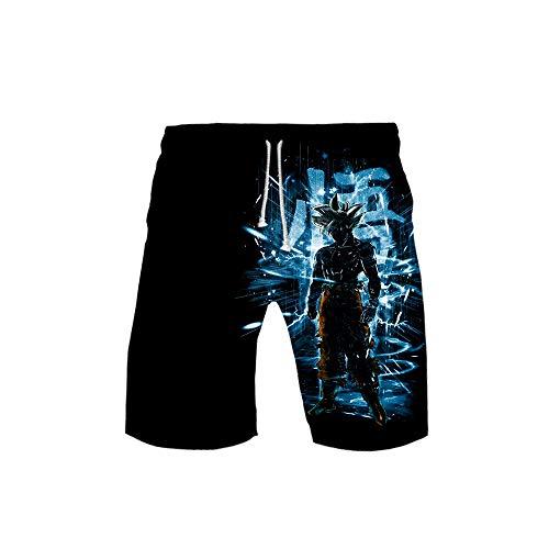 Zcbm Unisex Sommer Shorts Halbe Hose 3D Druck Dragon Ball Super Saiyan Goku Grafik Badehose Schnelltrocknend Jogginghose Mit Kordelzug,A,XXL