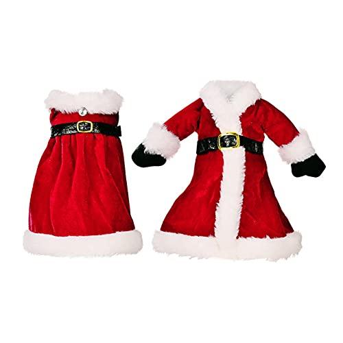 POHOVE 2 fundas para botellas de vino de Navidad, bolsas de vino de Papá Noel de Navidad, cubierta de botella de vino de Navidad, vestido de suéter para decoración de Navidad de Año Nuevo (rojo)
