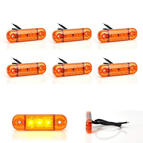 WAS IST WAS LED-Martin® Lot de 6 feux de gabarit fins Orange 12/24 V
