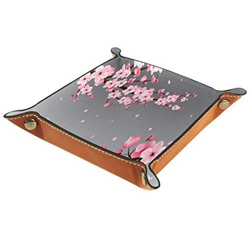 Bandeja de Valet Cuero para Hombres - Flor de Cerezo - Caja de Almacenamiento Escritorio o Aparador Organizador, Captura para Llaves,Teléfono,Billetera