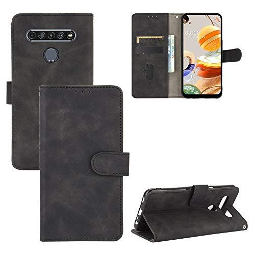 Hauw Hülle für LG K61/Q61,Flip Wallet Handyhülle mit Kartensteckplatz & Magnetverschluss Kompatibel mit LG K61/Q61,Schwarz