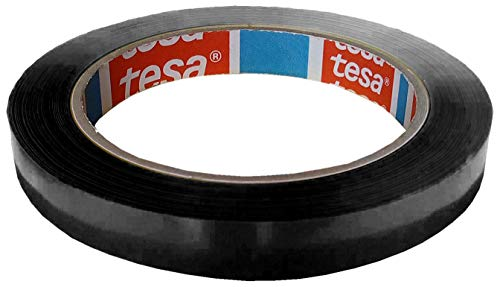 TESA Klebeband Markierungsband tesafilm 4204 PVC, 12mmx66m | Ideal für Tischabroller und Beutelverschlußmaschinen (1 Rolle, Schwarz)