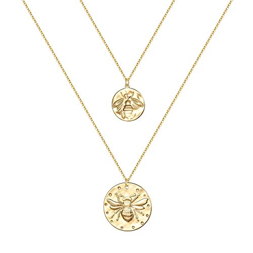 Bee Coin Layered Necklace 14K Gold Plated $6.00 (50% OFF Coupon)