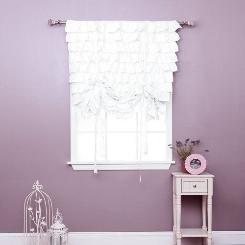 What Is Price For White Cotton Ruffle Tieup Shade Blackout Curtain Panel 63 L 1 Piece Tub