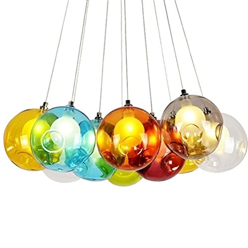 KJLARS Modern Pendelleuchte Höhenverstellbar Pendellampe Kristall Hängelampe Bunte Glas Hängeleuchte mit für Kinderzimmer Wohnzimmer Kronleuchter, Inklusiv Glühbirne (10 Lights)