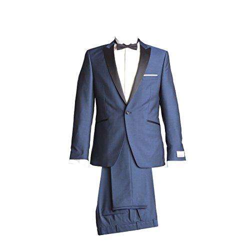 Wilvorst Anzug Smoking Sakko Smoking Hose ohne Bundfalte Mitternachtsblau Drop8 Extra Schmal Tailliert Geschnitten Runder Schalkragen 84% Wolle 16% Mohairwolle 230g 94