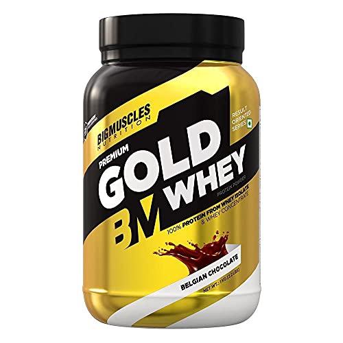 Bigmuscles Nutrition Premium Gold Whey 1Kg [Belgian Chocolate] | Whey Protein Isolate & Whey Protein Concentrate | 25g Protein Per Serving | 0g Sugar | 5.5g BCAA