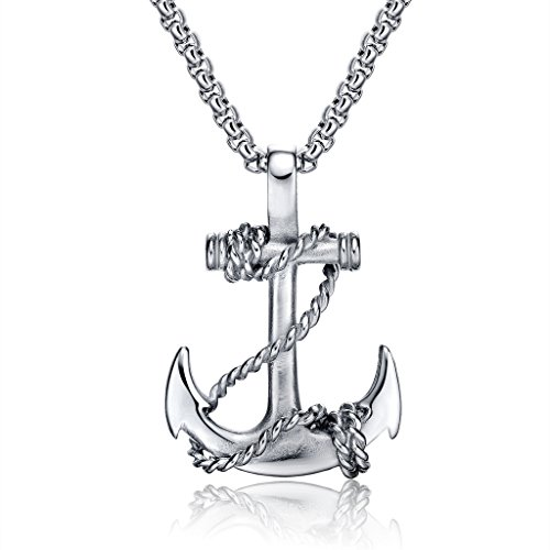 Feraco Anchor Necklace for Men Vintage Navy Nautical Pirate Pendant Stainless Steel Anchor Chain Necklace, 21.6 inch Silver