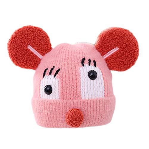 Linda Caliente Niños Niño Niña Invierno de Punto Sombrero del niño del Invierno Sombrero con Forro de algodón Gorra de Esquiar (Color : Pink, Size : 1-5 Years)