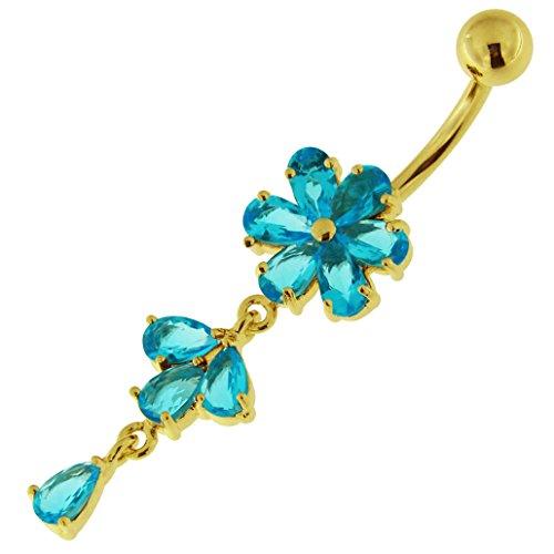 3 micron 18K geel goud vergulde lichtblauwe bloem met blad bungelend ontwerp sterling zilveren navelpiercing