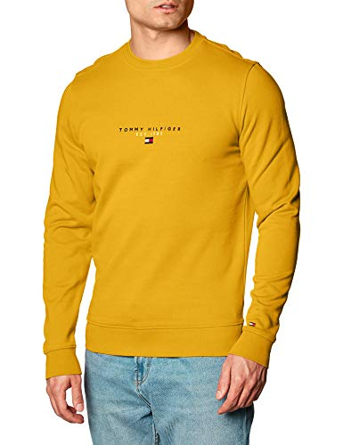 Tommy Hilfiger Herren Essential Tommy Crewneck Pullover, Innenhofgelb, Medium