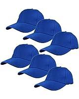 Gelante Plain Blank Baseball Caps Adjustable Back Strap Wholesale Lot 6 Pack - 001-Royal Blue-6Pcs