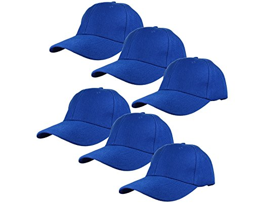 Gelante Plain Blank Baseball Caps Adjustable Back Strap Wholesale Lot 6 Pack - 001-Royal Blue-6Pcs