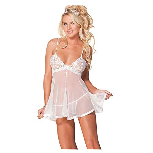 SEDEX Lencería Mujer Erótica Babydoll con Tanga Ropa Interior Dormir Sexy Vestido Camisones Encaje con Cordón Pijamas Femenina Hot Lencería Tentación