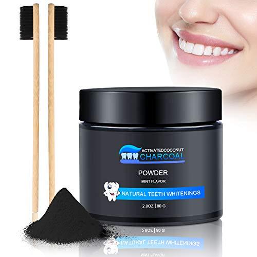 Aktivkohle Pulver Natürliche Zahnaufhellung 100% Activated Charcoal Teeth Whitening Powder Zahnreinigung für Weiße Zähne Mint Flavour Ohne Zusätze Weiße Bleaching Zähne mit 2 Bambuskohlezahnbürsten