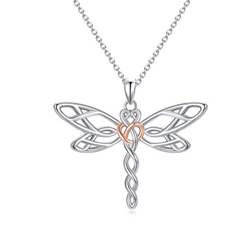 MISTBEE Celtic Dragonfly Necklace 925 Sterling Silver Pendant Necklace Celtic Knot Necklace Dragonfly Gifts for Mother Day Women Girl Lover