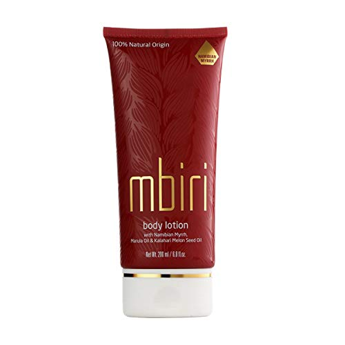 Mbiri Lait Corporel Hydratant à l'huile de marula et à la myrrhe - Lait corporel Bio pour femmes et hommes à la peau sèche, végétaliens - (1 x 200 ml)